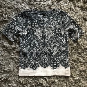 J Crew Lace Printed T-Shirt Sweatshirt XXS